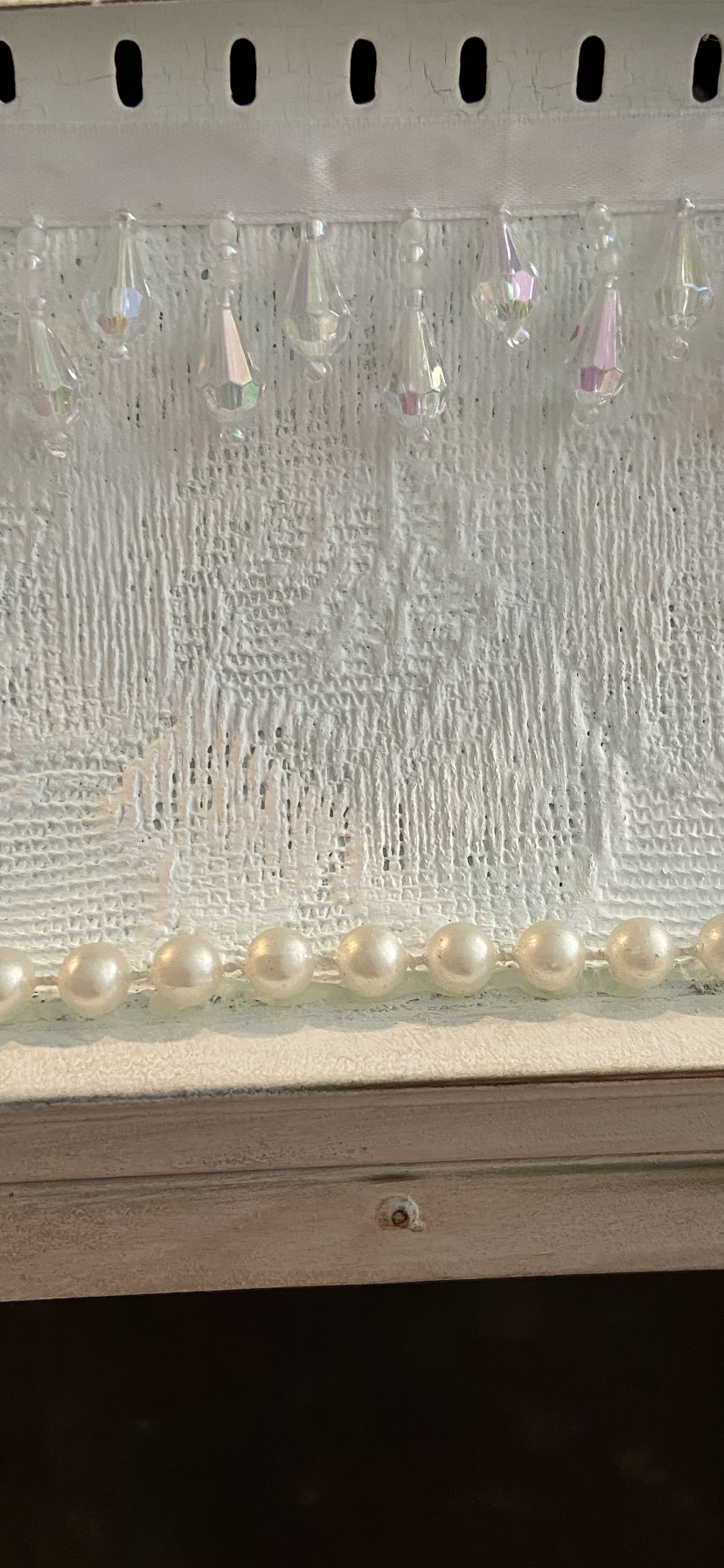Close up of Pearl Garland used in vintage lamp makeover.
